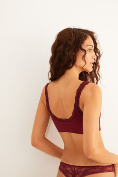 Womensecret Maroon cotton top with lace detail on the straps red
