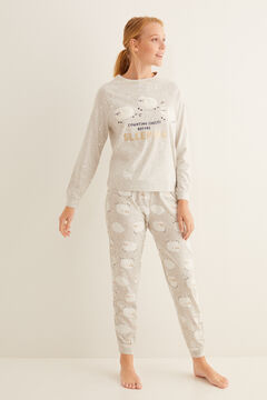 Womensecret Long cotton sheep pyjamas grey