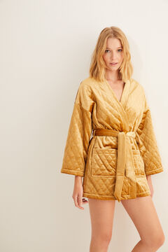 Womensecret Short quilted velvet robe printed