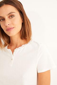 Womensecret T-shirt pandeira curta branca beige
