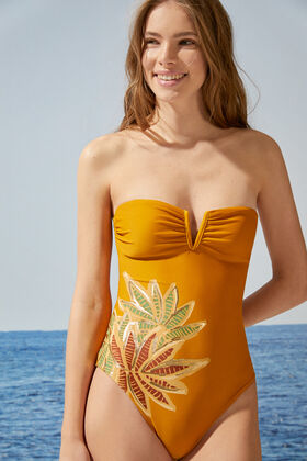 Womensecret Yellow tropical bandeau swimsuit yellow