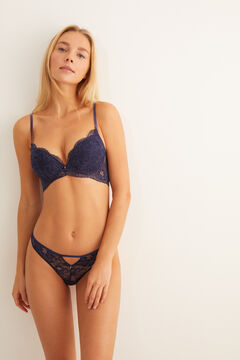 Womensecret Push-up bra with lace at the front and tulle.  blue