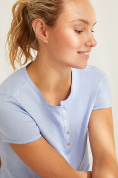 Womensecret Blue cotton Henley t-shirt blue