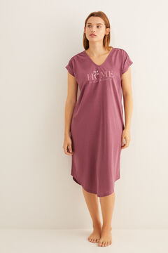 Womensecret Short-sleeved cotton nightgown in maroon grey