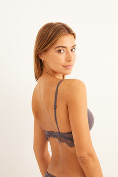 Womensecret Grey plumetis and lace push-up bra grey