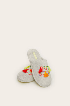 Womensecret Grey embroidery slingback slippers grey