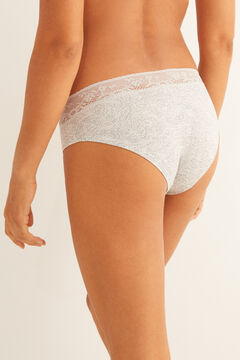 Womensecret Grey full cotton panty with lace printed