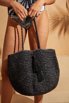 Womensecret Black raffia bag with pompoms black