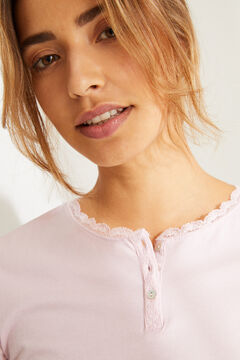 Womensecret Long-sleeved pink cotton top pink