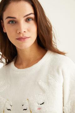 Womensecret Pijama largo polar llama beige