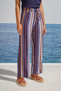 Womensecret Striped wide leg pyjama bottoms printed