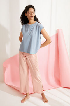 Womensecret Camiseta panadera manga corta algodón azul azul