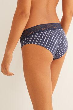 Womensecret Braguita culotte algodón con encaje navy azul