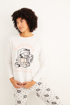 Womensecret Long fleece Garfield pyjamas white