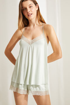 Womensecret Short vest pyjamas in super soft green jersey-knit green