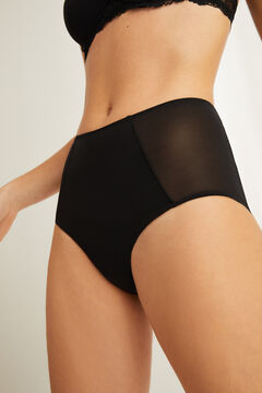 Womensecret Black high waist semi-control microfibre and tulle panty black