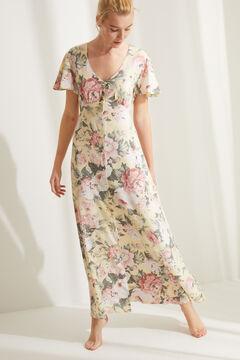 Womensecret Robe mi-longue manches courtes fleurs jaune imprimé
