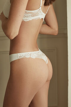 Womensecret White microfibre and lace tanga white