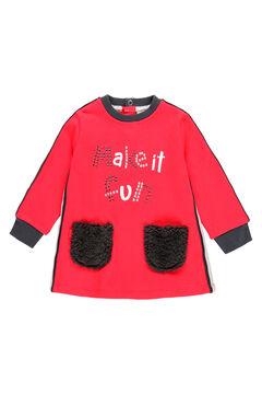 Womensecret Vestido felpa con bolsillos pelo de bebé rojo