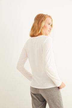 Womensecret White long-sleeved Henley top beige