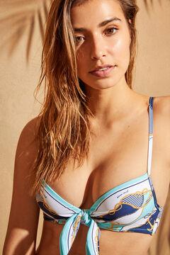 Womensecret Nautical print triangle tie-up bikini top blue
