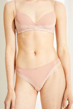 Womensecret Culotte classique microfibre dentelle rose nude