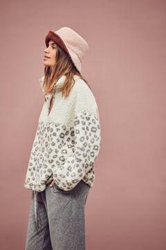 Womensecret Grey animal print fleece sweatshirt grey