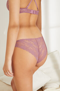 Womensecret Classic panty in dark pink lace printed