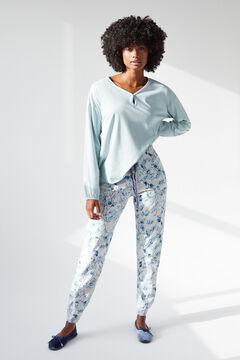 Womensecret Blue cotton long-sleeved top blue