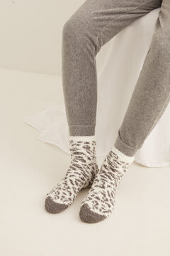 Womensecret Fluffy animal print non-slip ankle socks grey