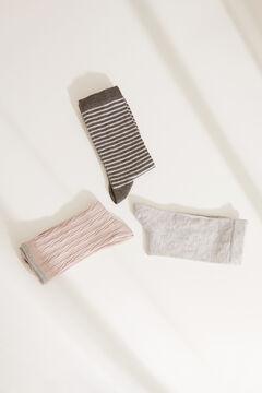 Womensecret Pack of 3 long printed socks grey