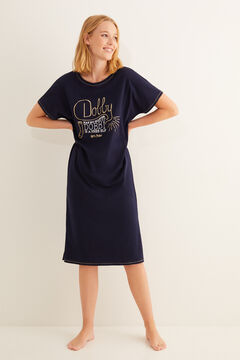 Womensecret Kurzarm-Nachthemd Dobby Blau Blau
