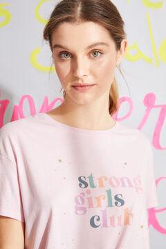 Womensecret Camisa de dormir midi manga curta algodão  rosa