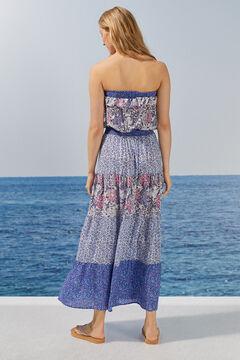 Womensecret Long floral flounced dress pink