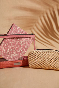 Womensecret Pack of 3 raffia and red print vanity cases white