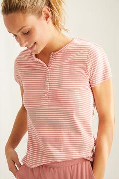 Womensecret Camiseta panadera rayas algodón estampado