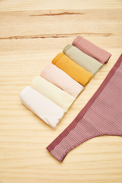 Womensecret 7-pack plain and striped cotton thongs  printed