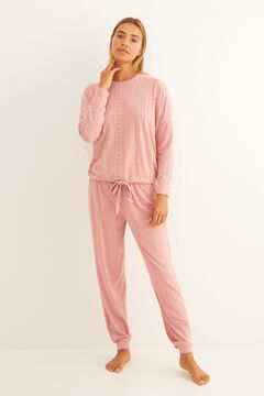 Womensecret Long pink textured pyjamas pink