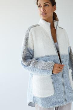 Womensecret Blue faux shearling robe blue