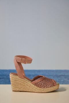 Womensecret Pink raffia wedge sandal pink