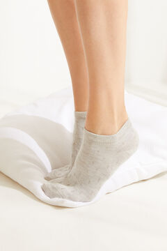 Womensecret Grey cotton polka-dot short socks grey