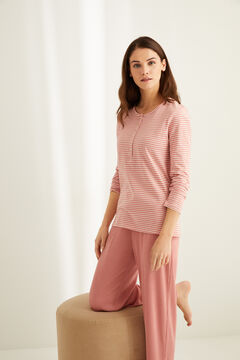 Womensecret Long-sleeved pink striped cotton Henley t-shirt printed