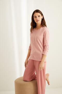 Womensecret Henleyshirt mit langen Ärmeln Streifen Baumwolle Rosa mit Print
