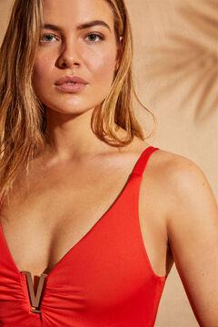 Womensecret Bañador moldeador escote en V  rojo