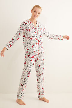 Womensecret Pijama largo camisero estampado Snoopy blanco