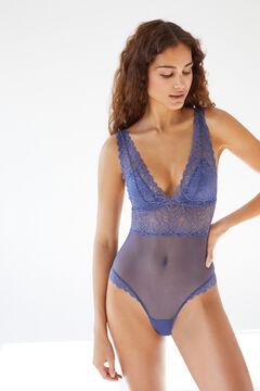 Womensecret Blue lace triangular bodysuit blue