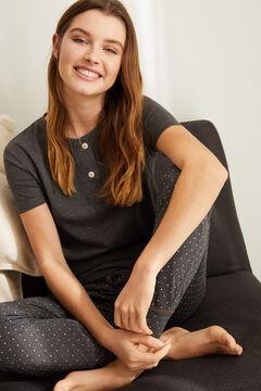 Womensecret Camiseta panadera botones gris gris