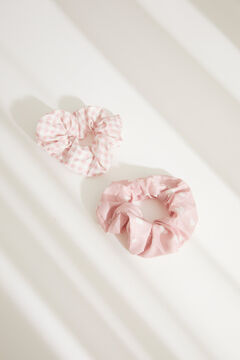 Womensecret Pack of gingham scrunchies with hearts pink