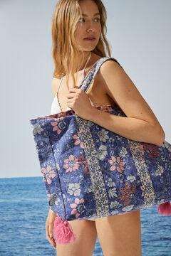 Womensecret Bolso grande reversible flores 100% algodón azul