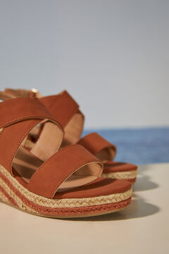 Womensecret Two-tone raffia wedge sandal nude